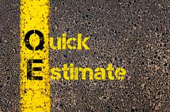 Accounting Business Acronym QE Quick Estimate - stock photo