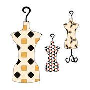 Set of summer dresses vintage patterns on manikin Stock Illustration
