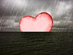 Heart Drowning Photo Collage Stock Illustration
