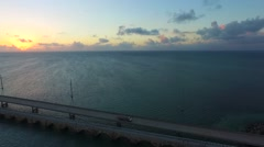 Aerial pan of Seven Mile Bridge at sunrise in the Florida Keys.mp4 Stock Footage