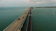 Bridge aerial on Overseas Highway in Florida Keys at twilight.mp4 Stock Footage
