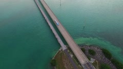 Seven Mile Bridge aerial top shot in the Florida Keys.mp4 Stock Footage
