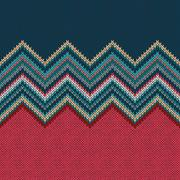Seamless knitting Christmas pattern with wave ornament Stock Illustration