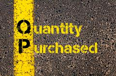 Accounting Business Acronym QP Quantity Purchased - stock photo