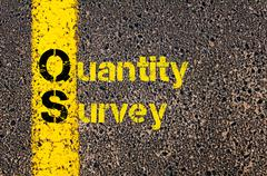 Accounting Business Acronym QS Quantity Survey - stock photo