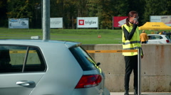 Security guards are getting ready at the automobile event Stock Footage