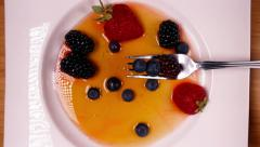 Delicious Dessert Assortment of Fresh Berries  in Sweet Sauce 4K Fruits Stock Footage
