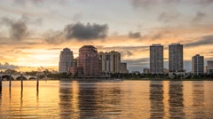 Golden Sunset Time Lapse WPB West Palm Beach Skyline Florida Stock Footage