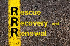 Accounting Business Acronym RRR Rescue, Recovery and Renewal - stock photo