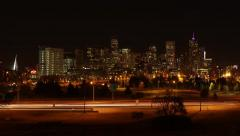 Downtown Denver Skyline at Night - stock footage