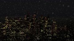 4K Modern City at Night in Snowfall Stock Footage