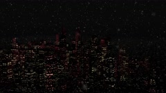 4K Modern City at Night in Snowfall Stock Footage