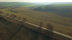 Aerial view over the road Stock Footage
