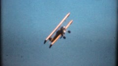 Bi-plane flying low, hedge hopper Stock Footage