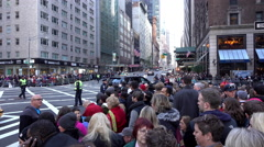 Macys Thanksgiving Parade route with people waiting on sidewalk 4k Stock Footage
