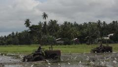 Stock Video Footage of Two tractors work in marshy rice fields in the mud . Asia.Sri Lanka