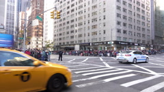 6th avenue and 57th street before 89th annual Macys Parade 4k Stock Footage
