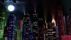 4K Modern City Lit by Colorful Light Effects at Night reflectors Stock Footage