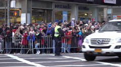 Large crowd of fans waiting for the 89th Annual Macys Parade 4k - stock footage