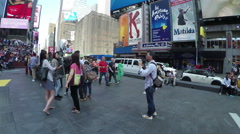 Crowded bleacher seats and Times Square in NYC - stock footage