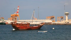 Traditional dhow in Muscat, Oman - stock footage