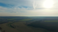 Aerial view of beautiful Ukrainian nature, the height of 300 meters Stock Footage