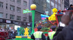 Sesame Street float going through New York City streets 4k Stock Footage