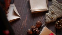 Hands of a woman crafting christmas gifts. New Year's and Christmas. Prepare gif Stock Footage