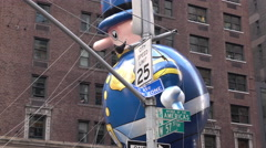 NYPD Balloon flying through streets of 89th annual Macys Parade 4k Stock Footage
