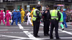 New York Police protecting the Macys Thanksgiving Parade 4k Stock Footage