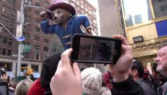 Paddington Bear filmed by fans in crowd of parade 4k Arkistovideo