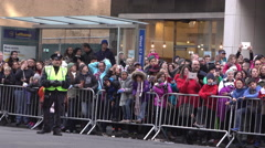 Crowd down side street of 2015 Macys Parade 4k Stock Footage