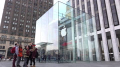 Apple Store in downtown New York City in daylight 4k - stock footage