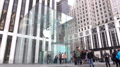 Entrance to New York City Apple Store location 4k - stock footage