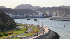 Traffic at the corniche in Muscat, Kingdom of Oman - stock footage