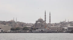View of New Mosque from Bosphorous Stock Footage
