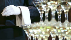 Glass tower of champagne coctail restaurant service Stock Footage