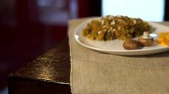 Stock Video Footage of vegan food mushroom risotto