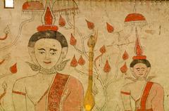 Art Thai, Mural mythology buddhist religion on wall - stock photo