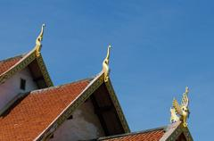 """The rooftop of Buddhist temple at """"Wat Sri Pho Chai Sang Pha"""" in Loei Stock Photos"""