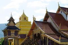 Old church at Wat Sri Pho Chai Sang Pha temple in Loei province, Thailand Stock Photos