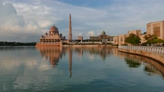 Timelapse of floating Mosque By The Lake At Putrajaya Stock Footage