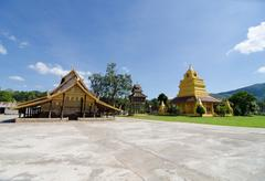 old church at Wat Sri Pho Chai Sang Pha temple in Loei province, Thailand - stock photo