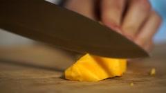 Vegan food cuttting a pumpkin Stock Footage