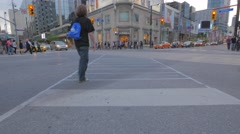 Toronto Yonge Dundas Intersection Low Angle Stock Footage