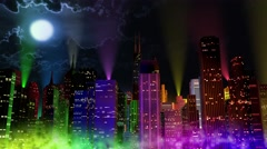 Stock Video Footage of 4K Modern City Lit by Colorful Light Effects at Night reflectors