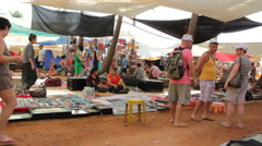 Flea Market in Anjuna Goa Stock Footage