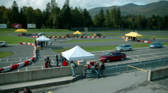 Visitors have been gathering at the automobile event Stock Footage