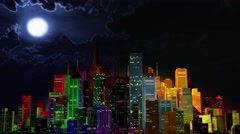 4K Modern City Lit by Colorful Light Effects at Night Stock Footage