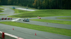 A car on the car track has stopped Stock Footage